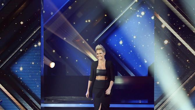 Singer Fischer accepts her award for Best German Music Act during Golden Camera awards ceremony in Hamburg
