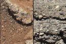 This set of NASA handout images compares the Link outcrop of rocks on Mars with similar rocks seen on Earth