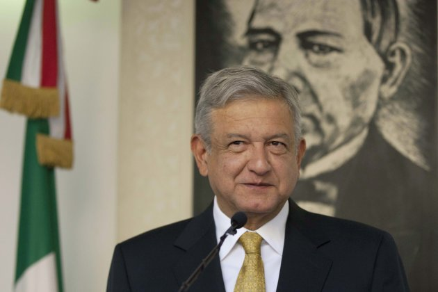 Andres Manuel Lopez Obrador, presidential candidate for the Democratic Revolution Party (PRD), speaks during a news conference in Mexico City, Friday, Aug. 31, 2012. Lopez Obrador said Friday that he is refusing to recognize the results of Mexico's presidential election, raising the question of whether he will launch street protests like those he used to paralyze central Mexico City after losing the 2006 vote. (AP Photo/Alexandre Meneghini)