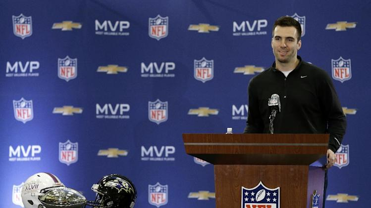 Baltimore Ravens quarterback Joe Flacco speaks during a news conference after NFL Super Bowl XLVII football game Monday, Feb. 4, 2013, in New Orleans. The Ravens defeated the San Francisco 49ers 34-31.(AP Photo/Darron Cummings)