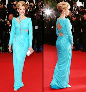 Jane Fonda Wears Skin-Baring Versace Gown at Age 75