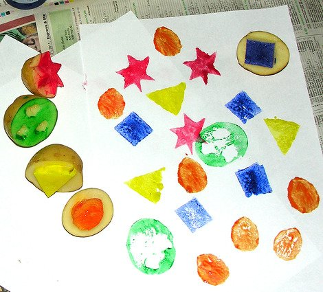 Potato printing craft for kids