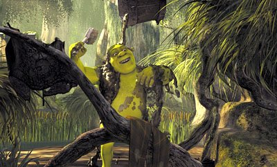 Shrek ( Mike Myers ) takes a refreshing mud bath in Dreamworks' Shrek