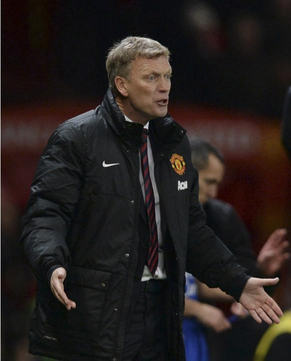 Manchester United's manager Moyes reacts during their English Premier League soccer match against Everton at Old Trafford in Manchester