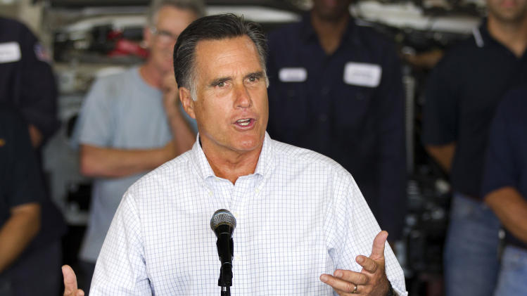 Republican presidential candidate, former Massachusetts Gov. Mitt Romney, talks about jobs during a campaign stop at Middlesex Truck and Coach on Thursday, July 19, 2012, in Roxbury, Mass.  (AP Photo/Evan Vucci)