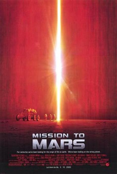 "Theatrical poster for the film ""Mission to Mars"" (2000) from Touchstone Pictures and Spyglass Entertainment.  Fair use:  to provide critical commentary on the film or event.  User:  Grandpafootsoldier.  Wikimedia Commons."