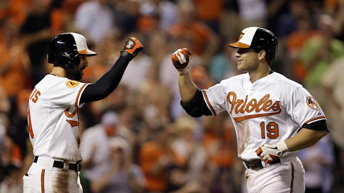 Baltimore Orioles' Chris Davis, right, fist-bumps teammate Nick Markakis after driving him in on a home run in the seventh inning of an interleague baseball game against the Washington Nationals, Wednesday, May 29, 2013, in Baltimore. Baltimore won 9-6. (AP Photo/Patrick Semansky)