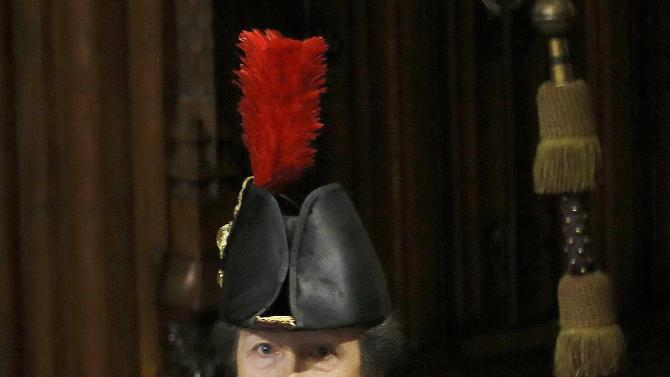 Britain's Princess Anne proceeds through the Prince?s Chamber after the State Opening of Parliament in the House of Lords, at the Palace of Westminster in London