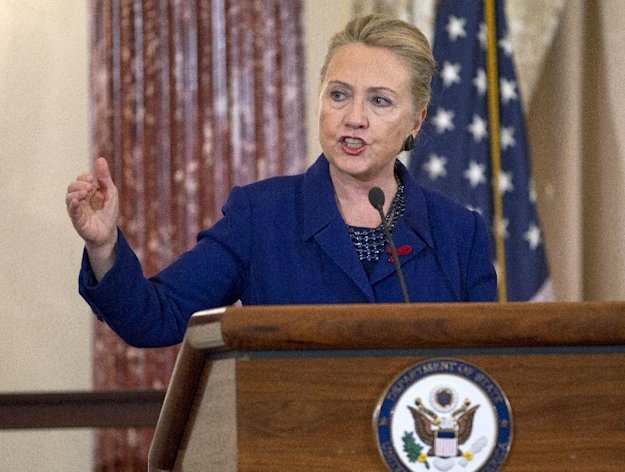 Secretary of State Hillary Rodham Clinton gestures as she speaks during a ceremony in recognition of World AIDS Day, Thursday, Nov. 29, 2012, at the State Department in Washington, where she released The U.S. President&#39;s Emergency Plan for AIDS Relief, (PEPFAR) Blueprint&#39; for Creating an AIDS- Free Generation. (AP Photo/Jose Luis Magana)