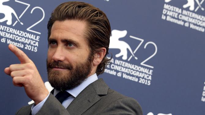 """Actor Gyllenhaal poses during the photocall for the movie """"Everest"""" at the 72nd Venice Film Festival"""