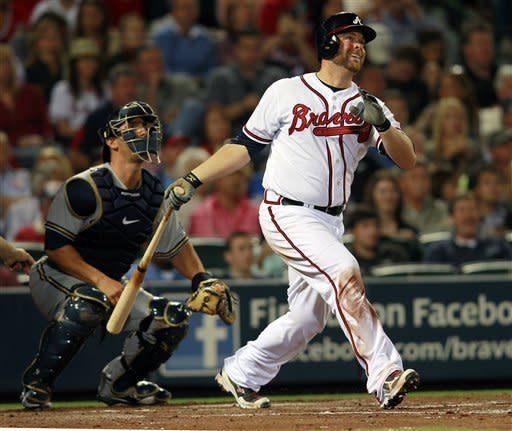 McCann, Uggla lead Braves past Brewers 10-8