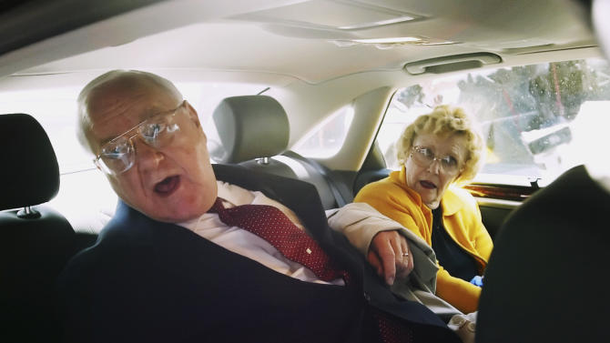 FILE - In this April 17, 2006 file photo, former Illinois Gov. George Ryan sits in a car with his wife, Lura Lynn, after he was convicted of racketeering and fraud charges at the federal courthouse in Chicago. Ryan, who reported to prison in November 2007, is scheduled to be released from a Terre Haute, Ind., prison Wednesday, Jan. 30, 2013, and enter a halfway house in Chicago. Both his wife and a brother died while he was in prison.  (AP Photo/Nam Y. Huh)