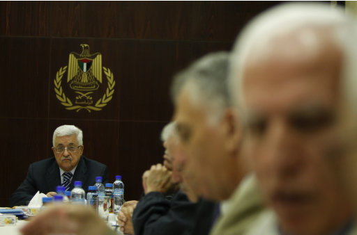 Palestinian President Mahmoud Abbas attends a meeting of the Palestine Liberation Organization (PLO) executive committee  in the West Bank city of Ramallah, Thursday, Sept 8, 2011.(AP Photo/Majdi Mohammed)