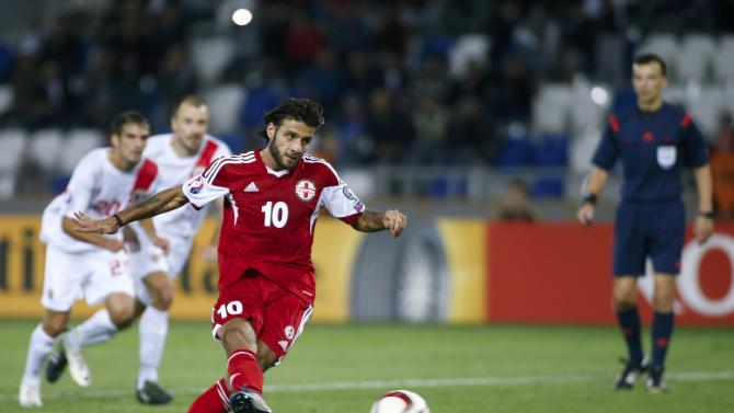 Georgia's Okriashvili shoots to score a penalty against Gibraltar during their Euro 2016 qualifying soccer match in Tbilisi