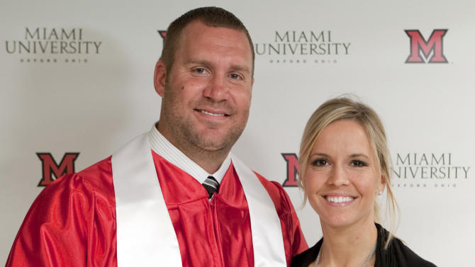 FILE - In this May 6, 2012, file photo, provided by Miami University, Pittsburgh Steelers quarterback Ben Roethlisberger poses with his wife Ashley Harlan after receiving his bachelor's degree in education during a commencement ceremony at the campus in Oxford, Ohio. The Roethlisberger's are welcoming their new son Benjamin Jr. He says his wife Ashley gave birth on Wednesday night, Nov. 21, 2012, according to a post in his website Thursday. (AP Photo/Miami University, Jeff Sabo, File)