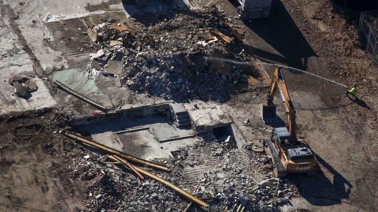 An aerial photo shows demolition work at Sandy Hook Elementary School in Newtown, Connecticut
