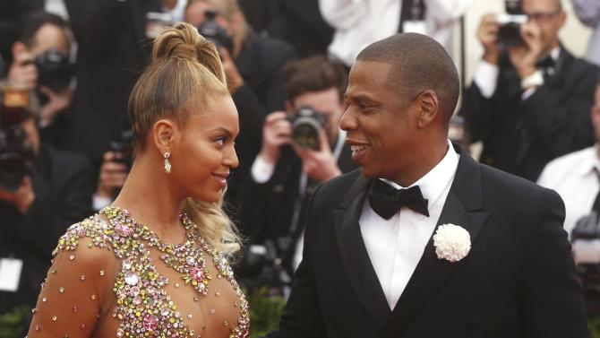 """Beyonce arrives with husband Jay-Z at the Metropolitan Museum of Art Costume Institute Gala 2015 celebrating the opening of """"China: Through the Looking Glass,"""" in Manhattan"""