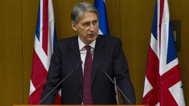 Britain's Foreign Secretary Hammond speaks during a news conference in Jerusalem