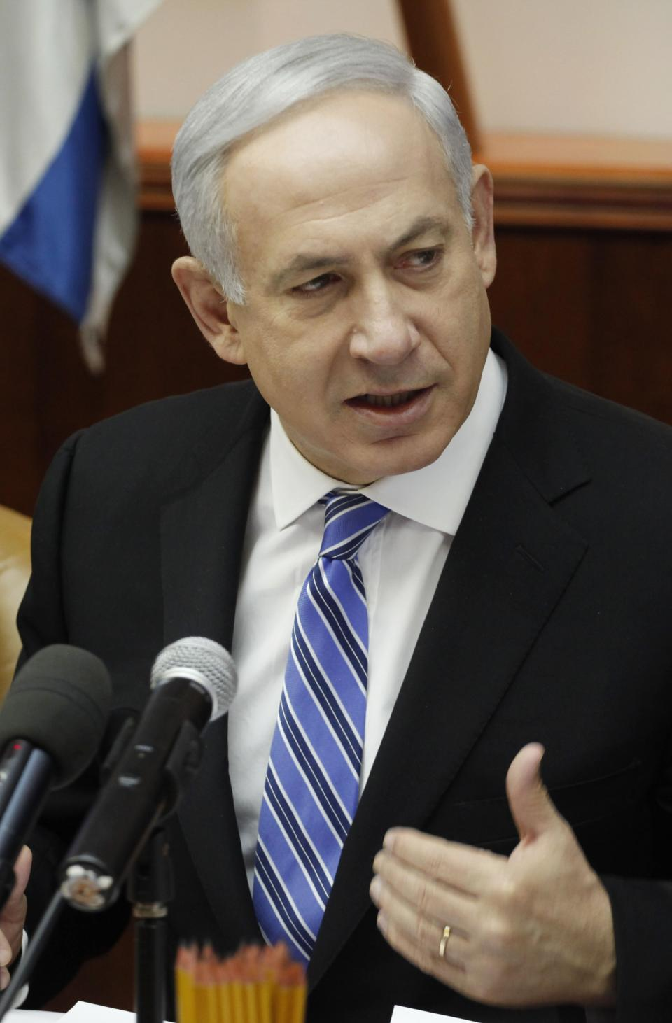 Israeli Prime Minister Benjamin Netanyahu addresses the weekly cabinet meeting at his Jerusalem office, Monday, May 7, 2012. Netanyahu said Monday his Likud Party is going to propose Sept. 4 as the date for early elections. (AP Photo/Gali Tibbon, Pool)