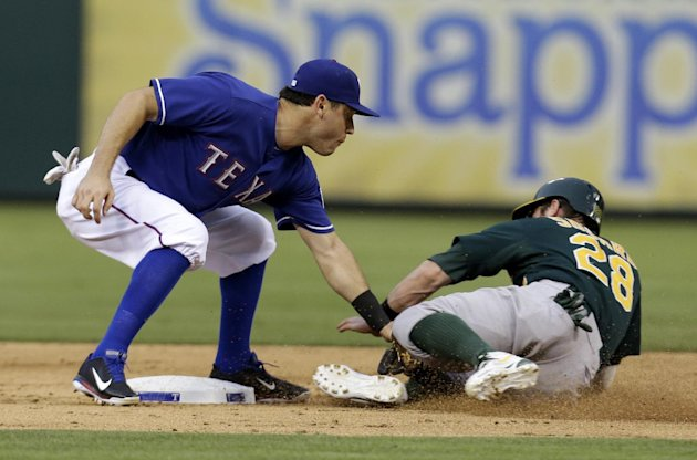Texas Rangers second baseman Ian Kinsler (5) applies the tag on Oakland Athletics' Eric Sogard (28) who was attempting to steal second in the third inning of a baseball game Wednesday, June 19, 2013,