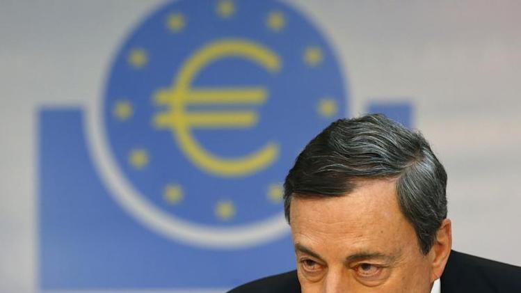 European Central Bank President Draghi pauses during the monthly ECB news conference in Frankfurt
