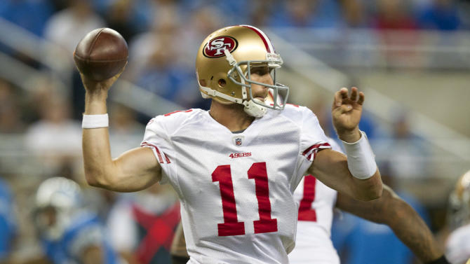 San Francisco 49ers quarterback Alex Smith (11) passes the ball in the second quarter of an NFL football game against the Detroit Lions in Detroit, Sunday, Oct. 16, 2011. (AP Photo/Rick Osentoski)