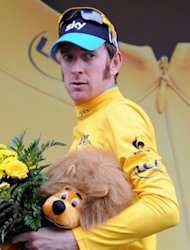 Overall leader's yellow jersey, British Bradley Wiggins, celebrates on the podium at the end of the seventeenth stage of the 2012 Tour de France cycling race starting in Bagneres-de-Luchon and finishing in Peyragudes, southern France. Valverde claimed a stylish solo victory in the 17th stage of the Tour de France as Bradley Wiggins admitted he now feels like a yellow jersey champion