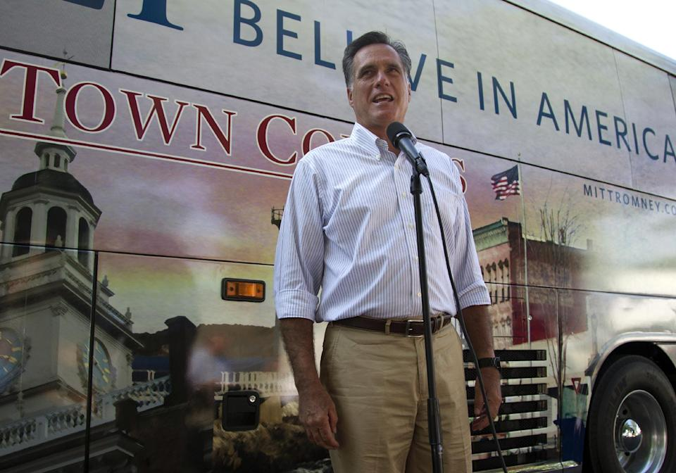 Republican presidential candidate, former Massachusetts Gov. Mitt Romney makes a statement on vice presidential vetting on Tuesday, June 19, 2012 in Holland, Mich.  (AP Photo/Evan Vucci)