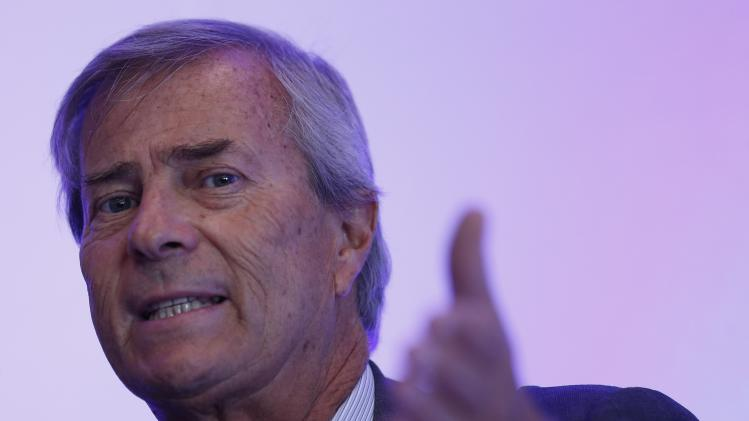 Vincent Bollore, CEO of investment group Bollore, speaks during a news conference in London