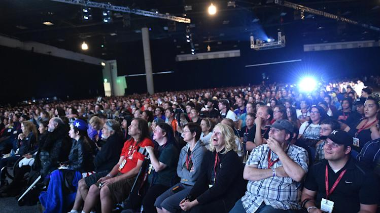 "A general view of atmosphere at AMC's ""The Walking Dead"" panel on Day 2 of Comic-Con International on Friday, July 25, 2014, in San Diego. (Photo by John Shearer/Invision for AMC/AP Images)"