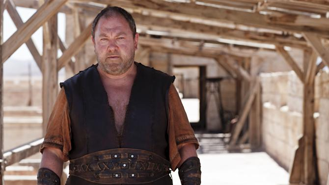 "An undated handout photo made available Friday, Nov. 22, 2013, by Urban Myth Films showing actor Mark Addy as a character from the TV show Atlantis. The myths, magic and monsters of ancient Greek lore are coming to life in the BBC's new fantasy-adventure series ""Atlantis"" from the unlikely setting of a former frozen-food warehouse in Wales. A vast space once stuffed with supermarket foodstuffs has been turned into a television studio, filled with sets recreating the fabled lost city, complete with temples and terracotta-roofed houses, ceremonial bull ring and regal palace. (AP Photo/Urban Myth Films, Nick Briggs)"