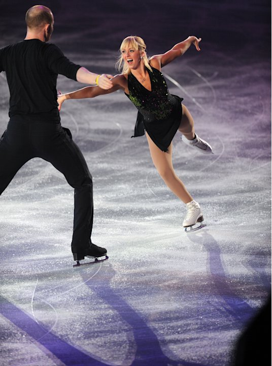 US pair, Caydee Denney (R) and John Coughlin perform during the exhibition event in the World Team Trophy 2012 figure skating competition in Tokyo on April 22, 2012.   AFP PHOTO / TOSHIFUMI KITAMURA (
