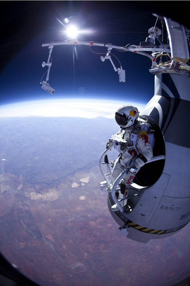 In this Thursday, March 15, 2012 photo provided by Red Bull Stratos, Felix Baumgartner prepares to jump during the first manned test flight for Red Bull Stratos over Roswell, N.M. On Wednesday, July 2
