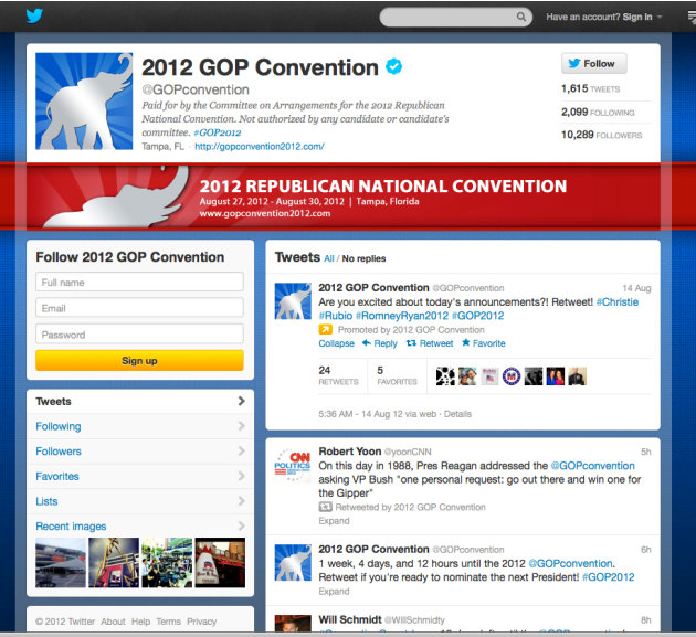 In this screen shot provided by the Committee on Arrangements for the 2012 Republican National Convention, the committee's Twitter account is seen. Social media is making the smoke-filled rooms of pol