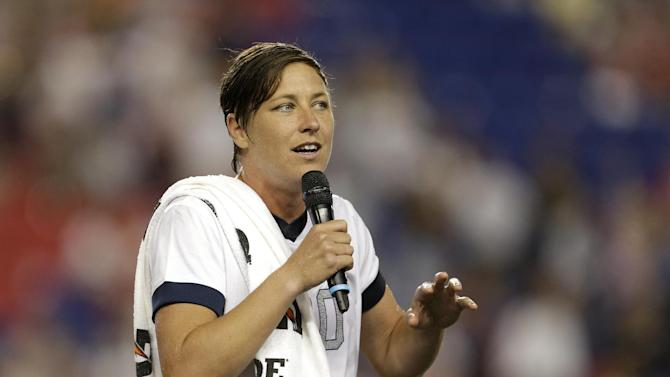 United States' Abby Wambach talks to spectators after an international friendly soccer match at Red Bull Arena, Thursday, June 20, 2013, in Harrison, N.J. The U.S. won 5-0. Wambach scored four goals in the first half to break Mia Hamm's record for international career goals. (AP Photo/Julio Cortez)