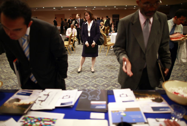 People participate in a job fair in New York