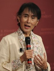 Myanmar Member of Parliament and Nobel Peace Prize laureate Aung San Suu Kyi speaks at the Kennedy School of Government at Harvard University in Cambridge, Massachusetts September 27, 2012