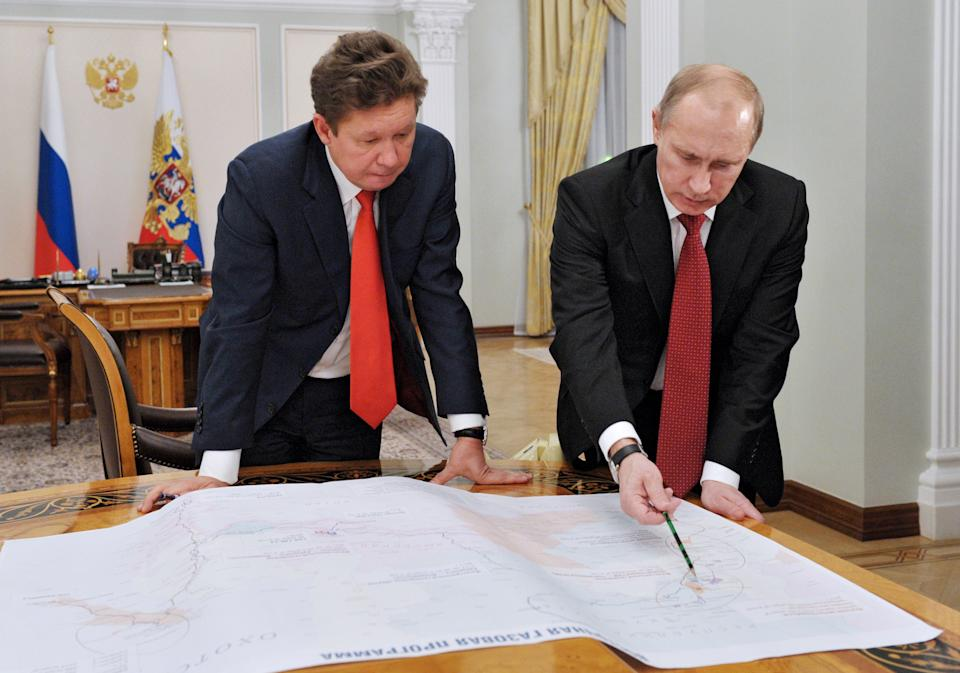 Russian President Vladimir Putin, right, meets with Russian gas monopoly Gazprom head Alexei Miller in the Novo-Ogaryovo residence, near outside Moscow, Monday, Oct. 29, 2012. (AP Photo/RIA-Novosti, Alexei Nikolsky, Presidential Press Service)