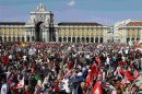 People gather to protest against austerity on Lisbon's main square Praca do Comercio