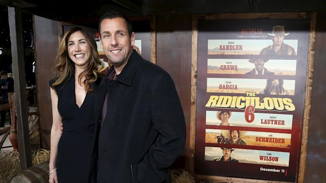 "Cast member Sandler and his wife pose at the premiere of ""The Ridiculous 6"" in Universal City"