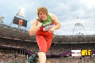 Belarus' Nadezhda Ostapchuk competes to win the women's shot put final at the athletics event of the London 2012 Olympic Games on August 6, in London. The London Olympics lost its first medallist to a doping scandal on Monday as Ostapchuk was stripped of gold a day after the Games closed in a blaze of music and colour