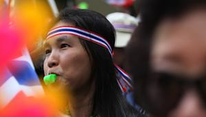 An anti-government protester blows a whistle at Industry…