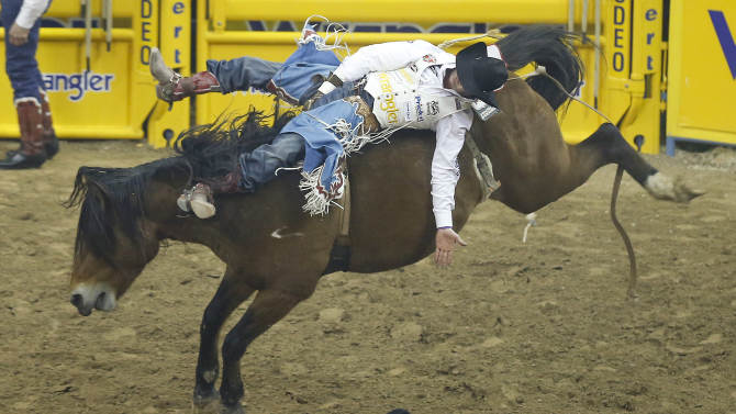 Kaycee Feild of Payson, Utah rides Scarlett's Web in the bareback riding competition during the 10th go-round of the National Finals Rodeo, Saturday, Dec. 15, 2012, in Las Vegas. Feild won the gold buckle for the bareback event. (AP Photo/Julie Jacobson)