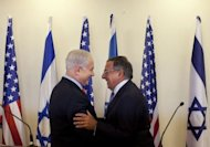 Israeli Prime Minister Benjamin Netanyahu (L) greets US Secretary of Defence Leon Panetta at the prime minister&#39;s office in Jerusalem. US and Israeli threats of a military strike have done nothing to stop Iran&#39;s pursuit of a nuclear capability, Netanyahu said in talks with Panetta