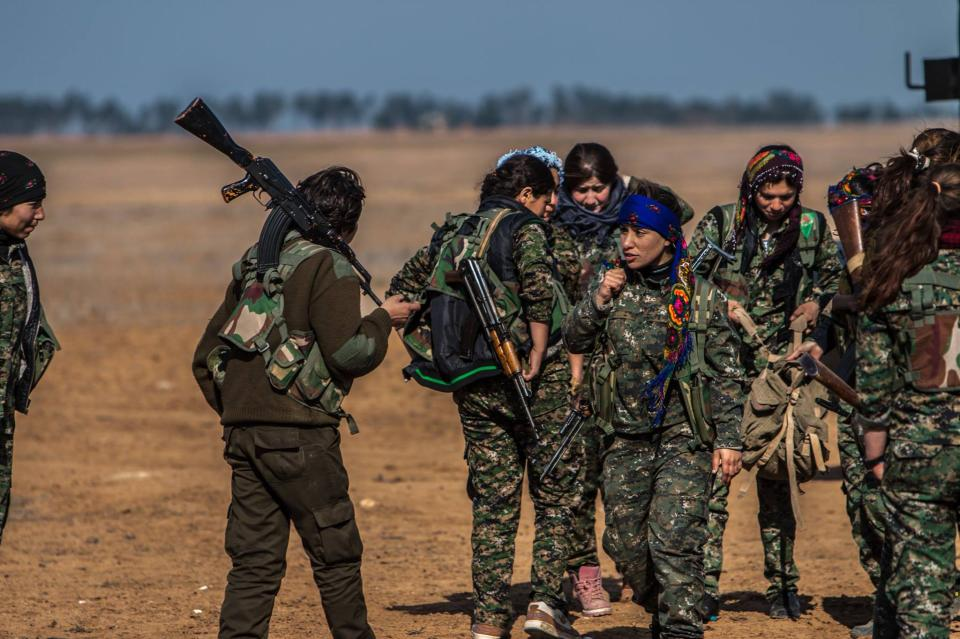In this photo released on May 24, 2015, provided by the Kurdish fighters of the People's Protection Units (YPG), which has been authenticated based on...