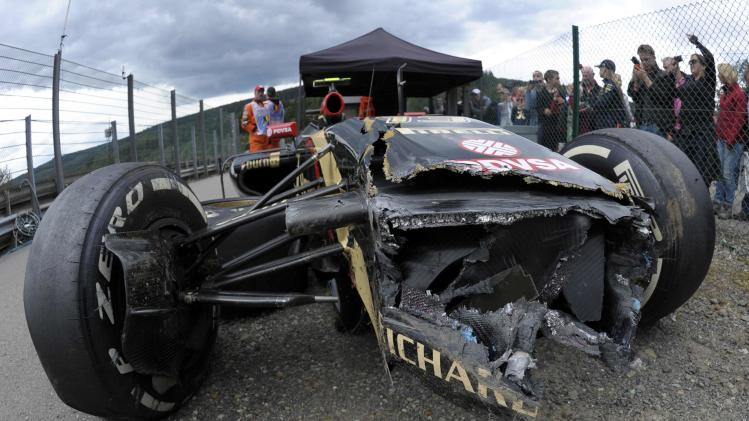 The car of Lotus Formula One driver Maldonado is pictured after a crash during a practice session at the Belgian F1 Grand Prix in Spa-Francorchamps