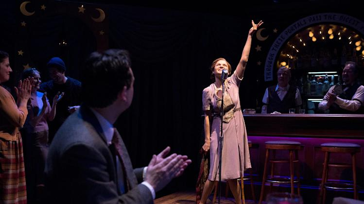 "In this theater publicity photo released by Richard Hillman PR, Todd Gearhart, foreground, and Mary Bacon perform in a scene from Anita Loos' comedy ""Happy Birthday'"" currently in revival off-Broadway by The Actors Company Theatre/TACT at the Beckett Theatre in New York.  (AP Photo/Richard Hillman PR, Hunter Canning)"