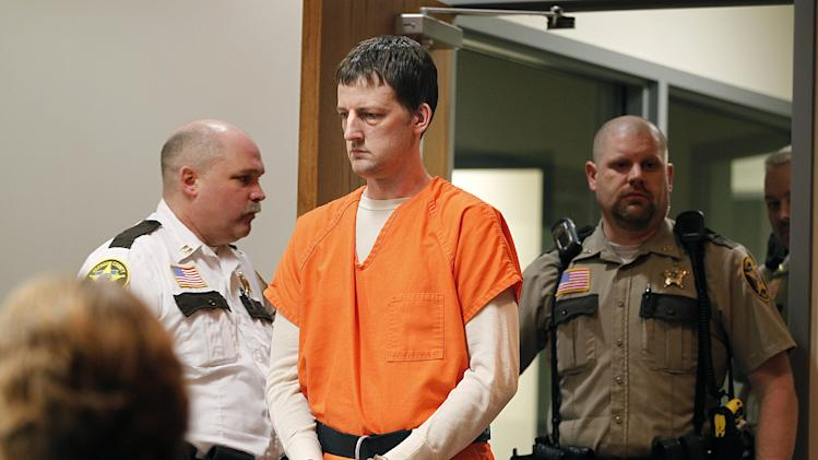 Aaron Schaffhausen makes his way into a St. Croix County Courtroom for a hearing on Thursday, March 28, 2013 in Hudson, Wis.  Schaffhausen, 35, pleaded guilty to killing his three young daughters at their home in western Wisconsin, but still maintains he shouldn't be held responsible because he was insane. Schaffhausen changed his plea Thursday after more than a day of legal wrangling about what kind of evidence would be allowed at his trial. He answered yes when the judge asked if he was guilty. The change-in-plea means prosecutors won't have to prove Schaffhausen killed his daughters at their River Falls home last July 2012. The defense will have to prove he had a mental disease or defect, and that he lacked substantial capacity to appreciate that what he did was wrong or couldn't control his impulses. (AP Photo/The Star Tribune, Elizabeth Flores)  MANDATORY CREDIT; ST. PAUL PIONEER PRESS OUT; MAGS OUT; TWIN CITIES TV OUT