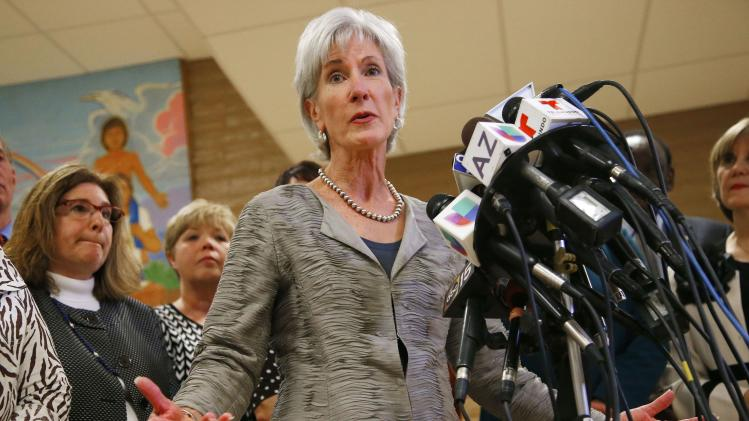 Health and Human Services Secretary Kathleen Sebelius answers a question during a news conference after visiting the Wesley Health Center on Thursday Oct. 24, 2013, in Phoenix, amid calls for her resignation after the rollout of insurance exchanges under the new federal health care law. (AP Photo/Ross D. Franklin)