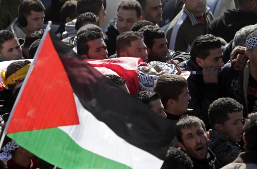 Palestinians carry the body of Mustafa Tamimi during his funeral in Nabi Saleh